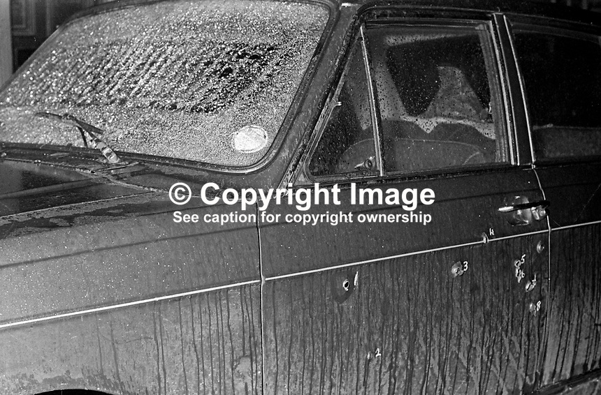 The exterior of the car with shattered windscreen &amp; bullet holes, in which John D Taylor, MP, Ulster Unionist, junior Home Affairs minister, in the N Ireland Parliament, was travelling when he was the target of an Official IRA assasination atttempt 25th February 1972. His car was raked with bullets by two gunmen, one of whom was Joe McCann, who was shot dead some months later by the British Army whilst trying to evade arrest. Taylor, who was hit 5 times in the head survived but required extensive reconstructive surgery. He later became an MEP and was created a life peer, Lord Kilclooney, in July 2001. 197202250071b<br />