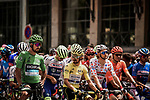 The leaders jerseys lined up for the start Stage 14 of the 2019 Tour de France running 117.5km from Tarbes to Tourmalet Bareges, France. 20th July 2019.<br /> Picture: ASO/Pauline Ballet | Cyclefile<br /> All photos usage must carry mandatory copyright credit (© Cyclefile | ASO/Pauline Ballet)