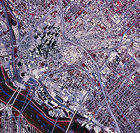 color infrared aerial photograph Dallas, Texas, 1995