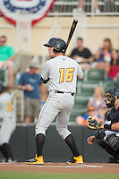 Jordan Luplow (16) of the West Virginia Power at bat against the Kannapolis Intimidators at Intimidators Stadium on July 3, 2015 in Kannapolis, North Carolina.  The Intimidators defeated the Power 3-0 in a game called in the bottom of the 7th inning due to rain.  (Brian Westerholt/Four Seam Images)
