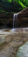 LaSalle Canyon Falls are shown in summer, LaSalle Canyon, Starved Rock State Park, LaSalle County, Illinois