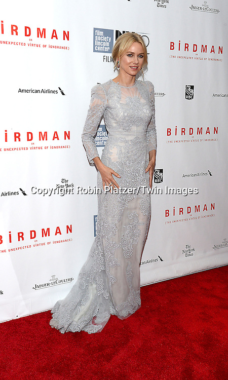 Naomi Watts  attends &quot;Birdman or The Unexpected Virtue of Ignorance&quot; screening at The 52nd New York Film Festival on October 11, 2014 at Alice Tully Hall in New York City. <br /> <br /> photo by Robin Platzer/Twin Images<br />  <br /> phone number 212-935-0770