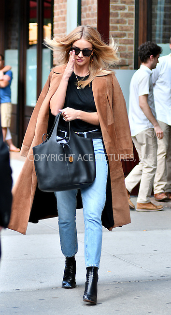 www.acepixs.com<br /> <br /> September 16 2016, New York City<br /> <br /> Model Rosie Huntington-Whiteley left her downtown hotel on September 16 2016 in New York City<br /> <br /> By Line: Curtis Means/ACE Pictures<br /> <br /> <br /> ACE Pictures Inc<br /> Tel: 6467670430<br /> Email: info@acepixs.com<br /> www.acepixs.com