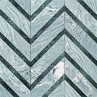 Raj Grand, a stone hand-cut mosaic, shown in polished Cippolino and Verde Alpi, is part of the Semplice™ collection for New Ravenna.