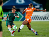 Saint Louis Athletica defender Kendall Fletcher (24) and Sky Blue FC midfielder Rosana (11) during a WPS match at Anheuser Busch Soccer Park, in St. Louis, MO, July 22 2009. Athletica won the match 1-0.