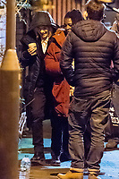 Pictured: New Doctor Jodie Whittaker (L) is spotter arriving at the Doctor Who film set on location in Newport, south Wales. She appeared to be wearing the costume worn by twelfth Doctor's Who actor Peter Capaldi's. Thursday 09 November 2017