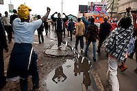 Independent Electoral and Boundaries Commission (IEBC) declared Uhuru Kenyatta as the winner of the presidential contest on 9 March 3013, after the failure of the electronic results transmission system delayed the process. Crowds of Jubilee supporters celebrate his victory in downtown Nairobi.