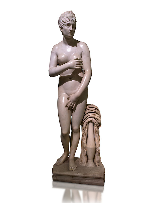 Statue of Aphrodite, a 2nd century Roman Copy. This sculpture depicts Aphrodite in the typical pose known as the Modest Aphrodite style or Capitoline type and is a copy of a lost 4th century BC Aphrodite of Cnidos sculpture by Athenian sculpture Praxiteles. Naples National Archaeological Museum, Italy