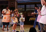 "NaTasha Yvette Williams, Katharine McPhee, Delaney Quinn and Drew Gehling during her curtain call bows as she returns to ""Waitress"" at the Brooks Atkinson Theatre on November 25, 2019 in New York City."