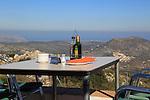 Terrace restaurant table with view, Mirador del Coll de Rates, Tarbena, Marina Alta, Alicante province, Spain