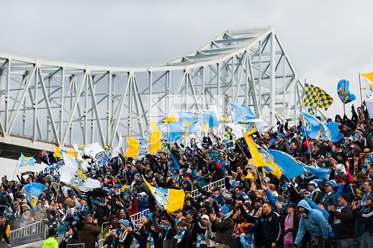 Philadelphia Union fans. Sporting Kansas City defeated the Philadelphia Union 3-1 during a Major League Soccer (MLS) match at PPL Park in Chester, PA, on March 2, 2013.