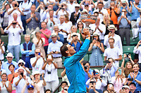 Rafael Nadal of Spain lifts the trophy after winning during Day 15 (Men's Final Day) of the French Open 2018 on June 10, 2018 in Paris, France. (Photo by Dave Winter/Icon Sport)