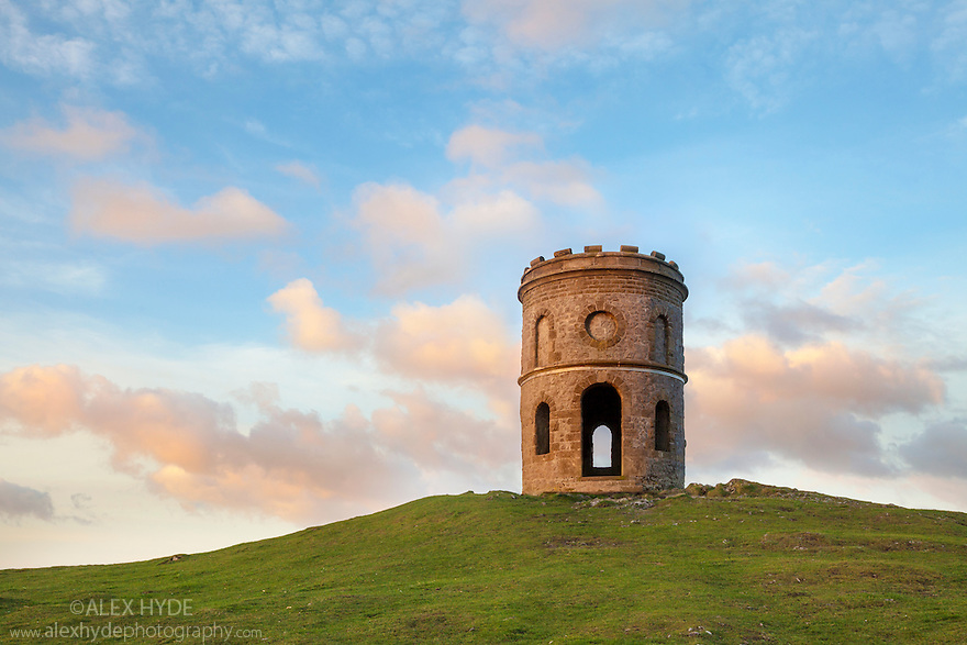 Solomon's Temple, also known as Grinlow Tower, is a Victorian tower built on top of a Bronze Age barrow. Buxton, Derbyshire, UK.