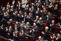 Roma, 16 Marzo 2013.Montecitorio, Camera dei Deputati.Secondo giorno in Aula della XVII Legislatura del Parlamento italiano.Elezione del Presidente.Pier Luigi Bersani e  Nichi Vendola durante il discorso della neo eletta Laura Boldrini.applausi