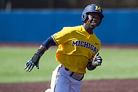 Michigan Wolverines second baseman Ako Thomas (4) runs to third base against the Illinois Fighting Illini during the NCAA baseball game on April 8, 2017 at Ray Fisher Stadium in Ann Arbor, Michigan. Michigan defeated Illinois 7-0. (Andrew Woolley/Four Seam Images)