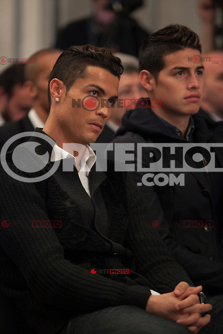 Real Madrid&acute;s Cristiano Ronaldo (L) and James Rodriguez attend Jorge Mendes&acute;s book presentation in Madrid, Spain. January 22, 2015. (ALTERPHOTOS/Victor Blanco) /NortePhoto<br /> NortePhoto.com