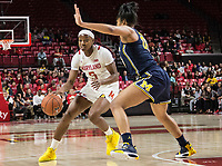 COLLEGE PARK, MD - DECEMBER 28: Naz Hillmon #00 of Michigan defends against Kaila Charles #5 of Maryland. during a game between University of Michigan and University of Maryland at Xfinity Center on December 28, 2019 in College Park, Maryland.