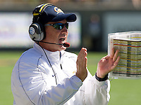 California head coach Jeff Tedford celebrates after Daniel Lasco of California scores a touchdown during the game against Southern Utah at Memorial Stadium in Berkeley, California on September 8th, 2012.   California Golden Bears defeated Southern Utah, 50-31.