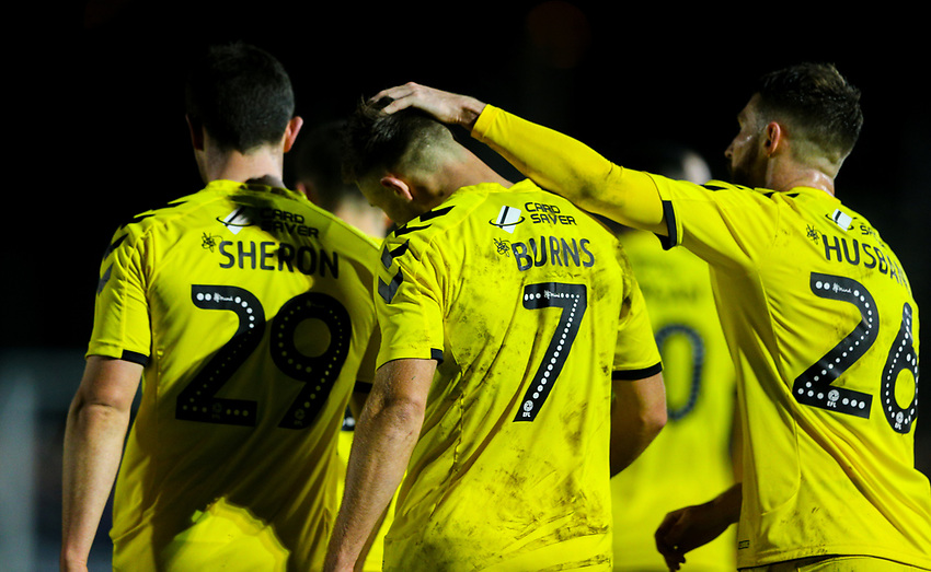 Fleetwood Town's Wes Burns celebrates scoring his side's second goal <br /> <br /> Photographer Alex Dodd/CameraSport<br /> <br /> The Emirates FA Cup Second Round - Guiseley v Fleetwood Town - Monday 3rd December 2018 - Nethermoor Park - Guiseley<br />  <br /> World Copyright © 2018 CameraSport. All rights reserved. 43 Linden Ave. Countesthorpe. Leicester. England. LE8 5PG - Tel: +44 (0) 116 277 4147 - admin@camerasport.com - www.camerasport.com
