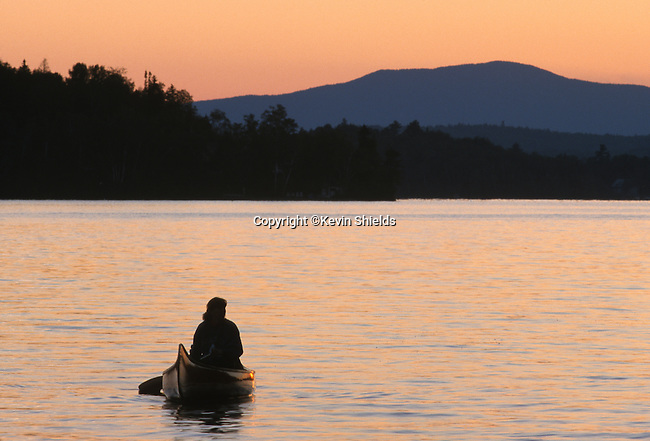 Canoeing on Rangeley Lake, Rangeley, Maine, USA