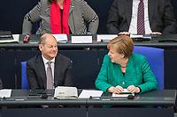 """29. Sitzung des Deutschen Bundestag am Donnerstag den 26. April 2018.<br /> Im Bild vlnr.: Finanzminister Olaf Scholz und Bundeskanzlerin Angela Merkel unterhalten sich waehrend der Bebatte ueber einen Antrag der Fraktionen der CDU/CSU, SPD und FDP """"70 Jahre Gruendung des Staates Israel - In historischer Verantwortung unsere zukunftsgerichtete Freundschaft"""".<br /> 26.4.2018, Berlin<br /> Copyright: Christian-Ditsch.de<br /> [Inhaltsveraendernde Manipulation des Fotos nur nach ausdruecklicher Genehmigung des Fotografen. Vereinbarungen ueber Abtretung von Persoenlichkeitsrechten/Model Release der abgebildeten Person/Personen liegen nicht vor. NO MODEL RELEASE! Nur fuer Redaktionelle Zwecke. Don't publish without copyright Christian-Ditsch.de, Veroeffentlichung nur mit Fotografennennung, sowie gegen Honorar, MwSt. und Beleg. Konto: I N G - D i B a, IBAN DE58500105175400192269, BIC INGDDEFFXXX, Kontakt: post@christian-ditsch.de<br /> Bei der Bearbeitung der Dateiinformationen darf die Urheberkennzeichnung in den EXIF- und  IPTC-Daten nicht entfernt werden, diese sind in digitalen Medien nach §95c UrhG rechtlich geschuetzt. Der Urhebervermerk wird gemaess §13 UrhG verlangt.]"""