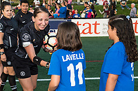 Boston, MA - Sunday September 10, 2017: Referee Danielle Chesky greets fans during a regular season National Women's Soccer League (NWSL) match between the Boston Breakers and Portland Thorns FC at Jordan Field.
