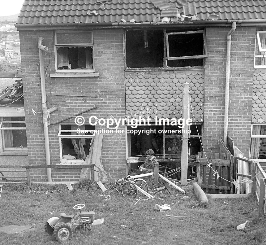 Rear view of a house at Barcroft Park, Newry, Co Down, N Ireland, UK, where 29 year old Patrick McKeown died when a bomb exploded prematurely on 27th August 1974. At least two other men were believed to have been injured in the blast. McKeown, a 29 year old Roman Catholic, married with 4 children, was from nearby Violet Hill Avenue. The Provisional IRA said Mr McKeown was killed in action. He had a para-military funeral and shots were fired over his coffin. 197408270463<br />