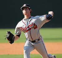 Pitcher Matt Chaffee (24) of the Rome Braves, Class A affiliate of the Atlanta Braves, in the first game of a doubleheader against the Greenville Drive on August 15, 2011, at Fluor Field at the West End in Greenville, South Carolina. Rome defeated Greenville, 6-3. (Tom Priddy/Four Seam Images)