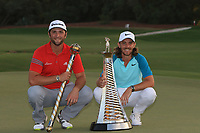 Jon Rahm (ESP) winner of the DP World Tour Championship 2017 and Tommy Fleetwood (ENG) winner of the Race to Dubai at the season ending DP World Tour Championship at the Jumeirah Golf Estates, Dubai, United Arab Emirates. 19/11/2017<br /> Picture: Golffile | Thos Caffrey<br /> <br /> <br /> All photo usage must carry mandatory copyright credit     (© Golffile | Thos Caffrey)