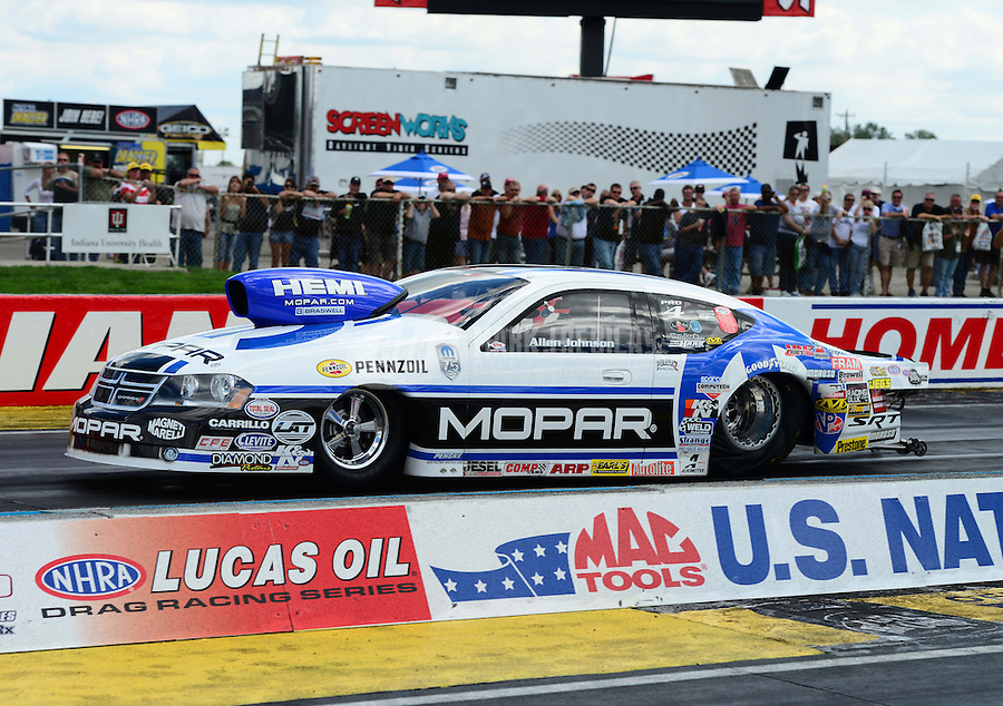 Sept 9, 2012; Clermont, IN, USA: NHRA pro stock driver Allen Johnson during the US Nationals at Lucas Oil Raceway. Mandatory Credit: Mark J. Rebilas-