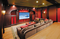 Comfortable Home Theater With Custom Ceiling