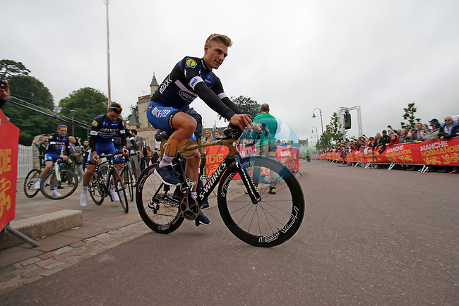 Marcel Kittel (GER) Etixx-Quick step team arrives for the team presentations before the start of the 2016 Tour de France, Sainte-Mere-Eglise, France . 30th June 2016.<br /> Picture: Eoin Clarke | Newsfile<br /> <br /> <br /> All photos usage must carry mandatory copyright credit (&copy; Newsfile | Eoin Clarke)
