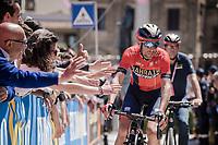Italian hero Vincenzo Nibali (ITA/Bahrain-Merida) cheered on at the race start in Vasto<br /> <br /> Stage 7: Vasto to L'Aquila (180km)<br /> 102nd Giro d'Italia 2019<br /> <br /> ©kramon