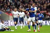 Harry Kane of Tottenham Hotspur pulls Joe Ralls of Cardiff City away from scene of his red card offence during Tottenham Hotspur vs Cardiff City, Premier League Football at Wembley Stadium on 6th October 2018