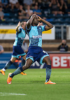 Marcus Bean of Wycombe Wanderers agonisingly goes close with his effort during the Sky Bet League 2 match between Wycombe Wanderers and Colchester United at Adams Park, High Wycombe, England on 27 August 2016. Photo by Liam McAvoy.