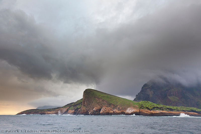 Stormy clouds over Isabella Island, Galapagos Islands, Ecuador.
