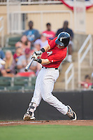 Max Dutto (14) of the Kannapolis Intimidators takes his swings against the Hagerstown Suns at Kannapolis Intimidators Stadium on July 4, 2016 in Kannapolis, North Carolina.  The Intimidators defeated the Suns 8-2.  (Brian Westerholt/Four Seam Images)