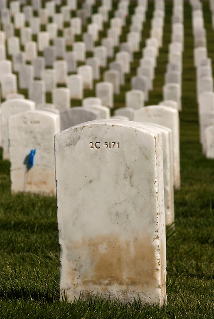 Tombstone with dense rows of tombstones in background - vertical head on