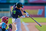 16 July 2017: Vermont Lake Monsters first baseman  Aaron Arruda, a 12th round draft pick for the Oakland Athletics, connects to single in his second RBI of the game in the 6th inning against the Auburn Doubledays at Centennial Field in Burlington, Vermont. The Monsters defeated the Doubledays 6-3 in NY Penn League action. Mandatory Credit: Ed Wolfstein Photo *** RAW (NEF) Image File Available ***