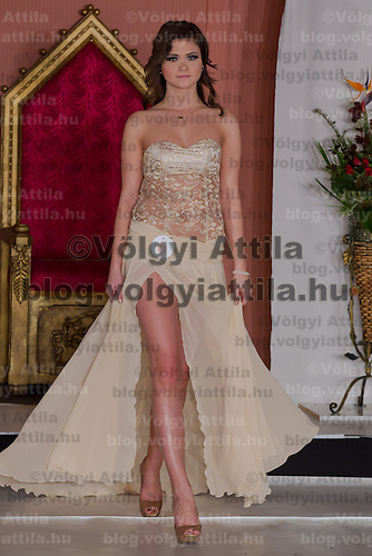 Nikolett Czibolya participates the Miss Hungary beauty contest held in Budapest, Hungary on December 29, 2011. ATTILA VOLGYI