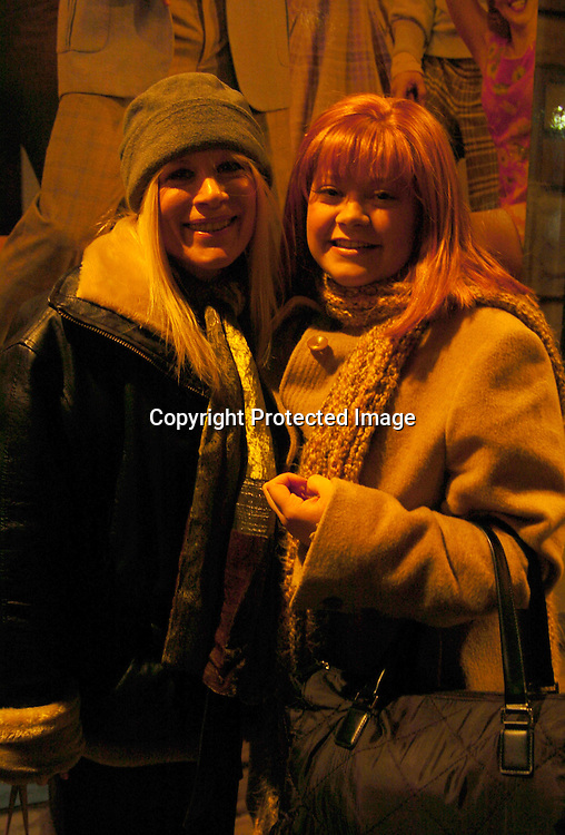 "Ilene Kristen and Kathy Brier ..at a performance of ""Hairspray"" on December 18, 2003 at the Neil Simon Theatre and also at a party at Ruth's Chris..Steakhouse in New York City.  Nathaniel Marston and Timothy Adams gave Kathy flowers at the curtain call. Photo by Robin Platzer, Twin Images"