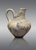 Cycladic cut away jug with floral and net pattern.   Cycladic (1650-1450 BC) , Phylakopi III, Melos. National Archaeological Museum Athens. Cat no 5757.   Grey background.<br /> <br /> <br /> This jug has a strainer in the spout with floral patterns. Ceramic shapes and painted style are heavily influenced by Minoan styles during this period. Dark floral and spiral patterns are painted over a lighted backgound with wavy bands.
