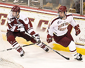 Colin Shea (UMass - 8), Chris Kreider (BC - 19) - The Boston College Eagles defeated the visiting University of Massachusetts-Amherst Minutemen 2-1 in the opening game of their 2012 Hockey East quarterfinal matchup on Friday, March 9, 2012, at Kelley Rink at Conte Forum in Chestnut Hill, Massachusetts.