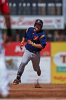 State College Spikes first baseman Casey Grayson (38) running the bases during a game against the Batavia Muckdogs August 23, 2015 at Dwyer Stadium in Batavia, New York.  State College defeated Batavia 8-2.  (Mike Janes/Four Seam Images)