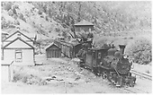 North facing view of K-27 #455 and Ten-wheeler #22 with a southbound freight at Brown station.<br /> RGS  Brown, CO  Taken by Moedinger, William - 1941