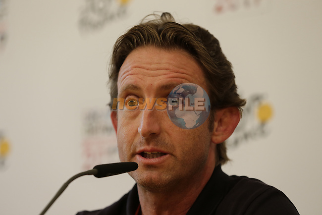 Directeur Sportif Matthew White Orica-Scott press conference in Dusseldorf before the 104th edition of the Tour de France 2017, Dusseldorf, Germany. 29th June 2017.<br /> Picture: Eoin Clarke | Cyclefile<br /> <br /> <br /> All photos usage must carry mandatory copyright credit (&copy; Cyclefile | Eoin Clarke)