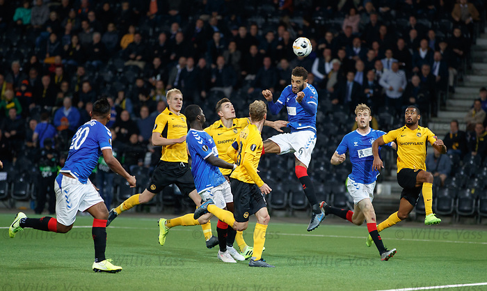 03.10.2019 Young Boys of Bern v Rangers: Connor Goldson heads over the bar