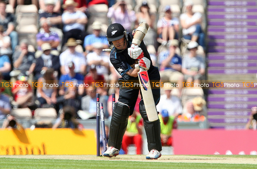 Luke Ronchi of New Zealand is clean bowled by James Anderson - England vs New Zealand, Natwest Series One Day International Cricket at the Ageas Bowl, Hampshire - 02/06/13 - MANDATORY CREDIT: Rob Newell/TGSPHOTO - Self billing applies where appropriate - 0845 094 6026 - contact@tgsphoto.co.uk - NO UNPAID USE