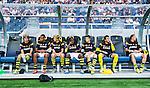 Solna 2014-07-24 Fotboll Europa League AIK - Linfield FC :  <br /> AIK:s Ibrahim Teteh Bangura sitter p&aring; avbytarb&auml;nken med lagkamrater vid avspark<br /> (Foto: Kenta J&ouml;nsson) Nyckelord:  AIK Gnaget Friends Arena Linfield LFC Europa League Kval