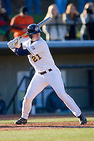 Cody Walker #21 of the UNC-Greensboro Spartans at bat at the UNCG Baseball Stadium March 5, 2010, in Greensboro, NC.  Photo by Brian Westerholt / Four Seam Images